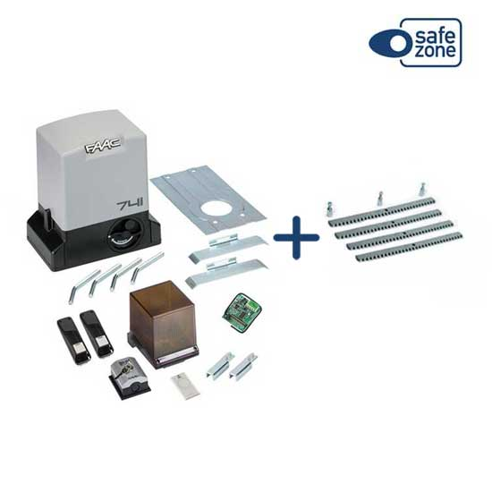 FAAC DELTA3 KIT automation for sliding 900KG 230V + 4M Galvanized Rack