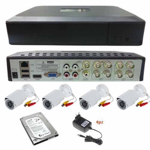 Kit Komplettes Video Surveillance HD Fernbedienung Mobil + 4 800TVL