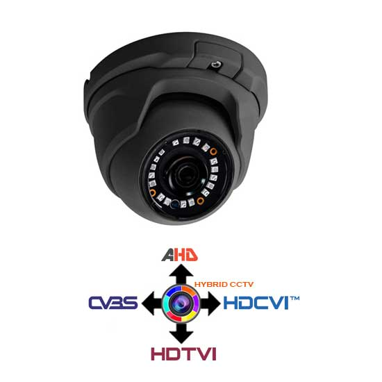 Dome Camera CCTV fixed 2.8mm 4IN1 Hybrid 1.3Mpx HD@720p Grey