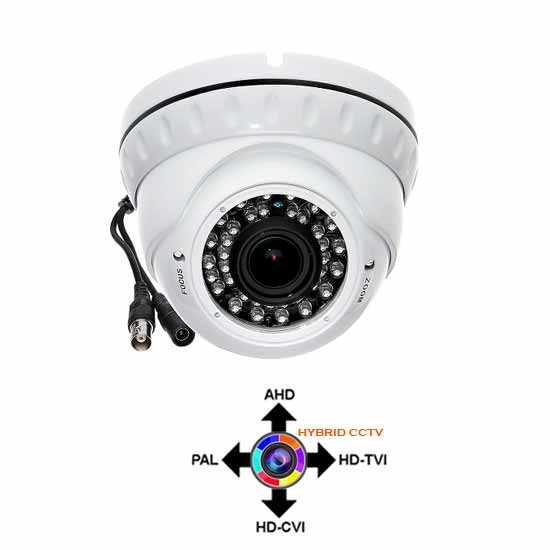 Hybrid White Dome Camera 2.8-12mm HD 1080p AHD, HD-CVI,HD-TVI
