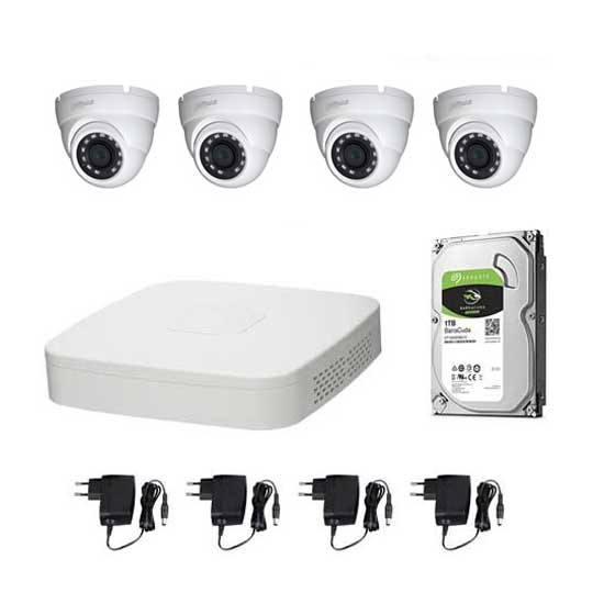 Kit Video Surveillance DAHUA HD @720p XVR 4CH + 4 CCTV + HD