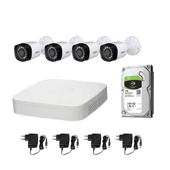 Kit Video Surveillance DAHUA FULL HD @1080p XVR 4CH + 4 CCTV + HD