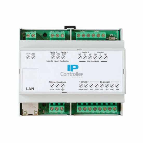 Stand-alone IP Module with 4 inputs and 4 outputs in DIN rail bo