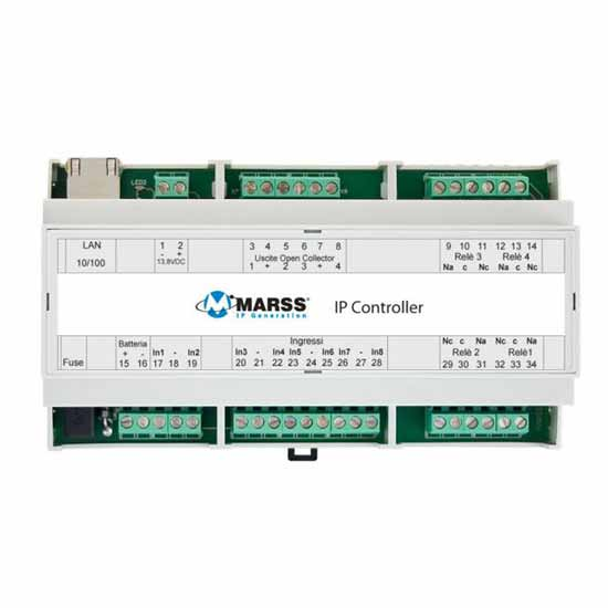 Stand-alone IP Module with 8 inputs and 8 outputs in DIN rail bo