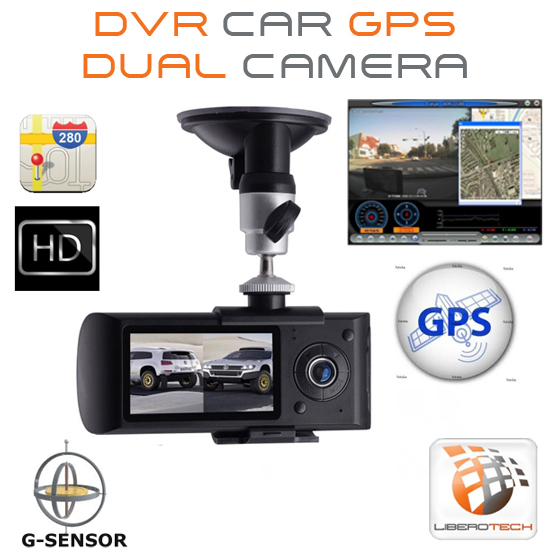 "Dvr car auto GPS tracker dual camera 120° lcd 2.7"" 16:9"