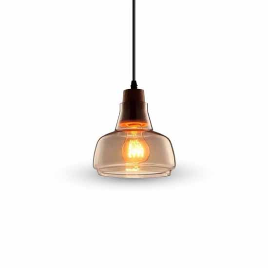 Modern Pendant Light 1MT Elegant E27 Ф165mm - Amber Glas + Holz