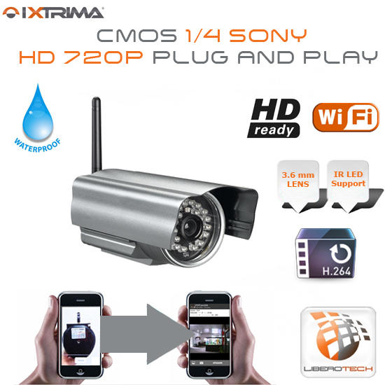 Camera IP Wireless HD 720p 30 IRs Led Plug & Play Waterproof