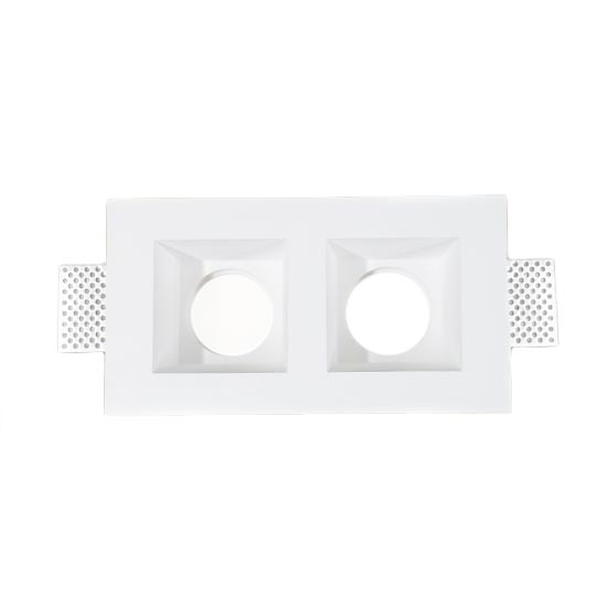 2*GU10 Housing square GYPSUM for Spotlights Φ215x120mm