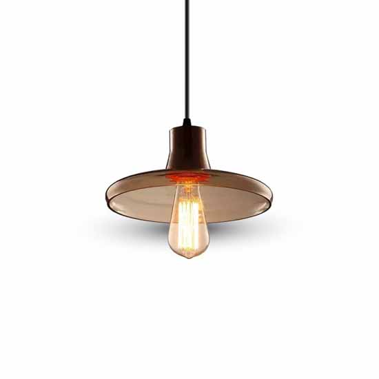 Modern Pendant Light 1MT Elegant E27 Ф235mm - Amber Glass + Wood