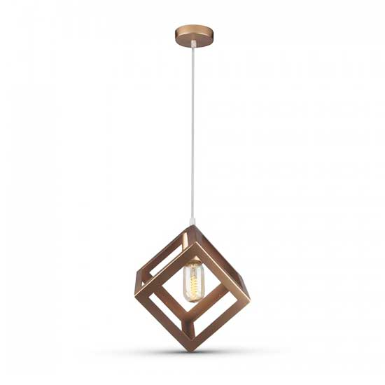 Geometric Pendant Light Champagne Gold Rhombus 1MT E27 Ф250mm