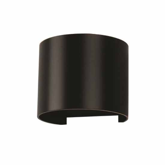 6W Wall Lamp Black Aluminium Body Round IP65 3000K 660LM 60°