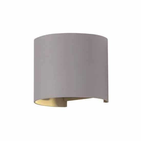 6W Wall Lamp Grey Aluminium Body Round IP65 4000K 660LM 60°