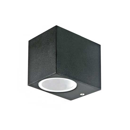 Wall Sleek Wall Fitting GU10 Aluminium Square Black 1 Way IP44