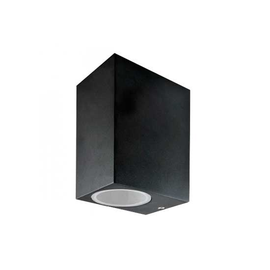 Wall Sleek Wall Fitting GU10 Aluminium Square Black 2 Way IP44