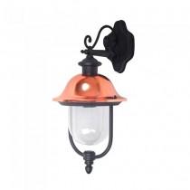 V-TAC VT-852 Portalampada wall lanterna da giardino Facing-down alluminio nero e calotta in rame E27 IP44 - sku 7531