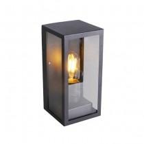 V-TAC VT-837 Portalampada Wall Light alluminio e vetro rettangolare nero 1xE27 IP44 - sku 8517