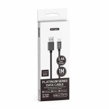V-TAC VT-5334 cavo dati USB 2.0 1M Type-C Platinum series in corda colore nero - sku 8491