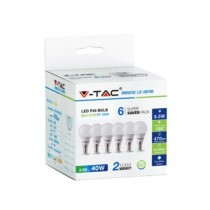 KIT Super Saver Pack V-TAC VT-2266 6PCS/PACK Lampadine Mini globo LED SMD P45 5,5W E14 bianco freddo 6400K - SKU 2735