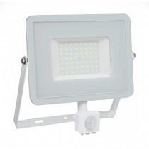V-TAC PRO VT-50-S 50W led pir sensor floodlight SMD chip samsung day white 4000K slim white body IP65 - SKU 467