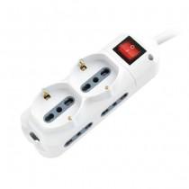 V-TAC Multipresa ciabatta 6 posti bipasso/schuko presa tedesca e prese/bipasso standard italiano interruttore luminoso - sku 8734