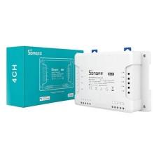 Interruttore universale smart switch WiFi controllo 4Ch linee indipendenti con temporizzazione guida DIN SONOFF 4CHR3