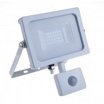 V-TAC PRO VT-20-S faro led 20W ultra slim bianco con sensore PIR bianco caldo 3000K IP65 - SKU 448