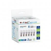 KIT Super Saver Pack V-TAC VT-2256 6PCS/PACK LED BULB SMD Mini globe G45 5,5W E27 cold white 6400K - SKU 2732
