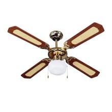 V-TAC VT-6042-4 Ventilatore da soffitto 50W 4 pale in legno AC-Motor con portalampada per lampadine E27 - sku 7914