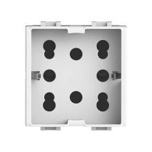Presa di corrente multistandard 2P+T 16A 250V 1 Schuko o 2 Bipasso per serie Bticino Matix colore bianco Side 4Box 4B.AM.H21