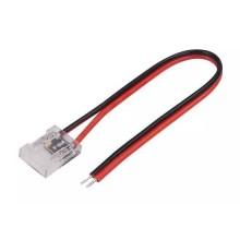 V-TAC Connettore flessibile innesto rapido per strisce LED COB di larghezza 10mm da 2 PIN e cavi a saldare - sku 2665