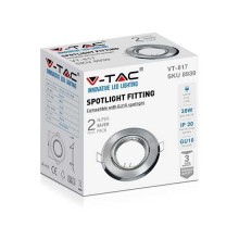 V-TAC VT-817 Portafaretti da incasso orientabile rotondo metallo nickel satinato per lampadine GU10-GU5.3 - sku 8939