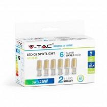 KIT Super Saver Pack V-TAC VT-2243 6PCS/PACK Ampoule LED 3W G9 blanc chaud 3000K - sku 2745