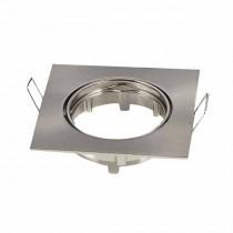 Portafaretto incasso alluminio Quadrato Satinato Nickel  regolabile GU10