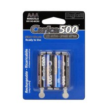 4pcs Ready-to-use rechargeable batteries Standard AAA - 800mAh Carica500 Beghelli