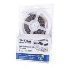 V-TAC VT-3528-60 led strip set 300LEDs SMD5050 day white 4000K 5M 3,6W/M 12V IP20 + power supply + DC connector - sku 2351