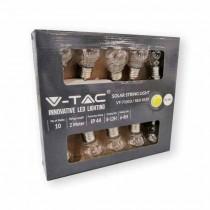 V-TAC VT-7010 catenaria luminosa led lampadine globo 3000K 10pcs 2M con pannello solare - sku 8559