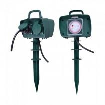 V-TAC VT-1112-3 2 Ways Garden Spike outdoor socket with mechanical timer 16A EU standard green body IP44 - SKU 8811