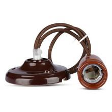 V-TAC VT-7998 Hängendes Licht 1MT E27 Hochfrequenzporzellan Lampenhalter Ф47mm IP20 Braun - SKU 3810