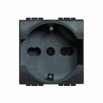 Prises internationale Anthracite 2P+T 16A 250V Bticino Livilight L4140/16