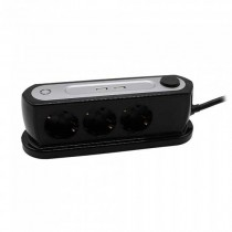 V-TAC VT-1133-2 Power Strip desk 3 Schuko Outlet 10A EU standard 3680W + 2 usb charger 2.4A on/off light switch - sku 8817