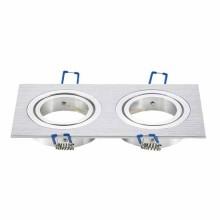 Portafaretto incasso alluminio spazzolato Quadrato regolabile 2*GU10
