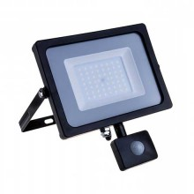 V-TAC PRO VT-50-S 50W led pir sensor floodlight SMD chip samsung day white 4000K slim black body IP65 - SKU 470