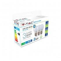 KIT Super Saver Pack V-TAC 3PCS/PACK Lampadine Mini globo LED SMD G45 5,5W E27 VT-2176 - SKU 7363 Bianco Naturale 4000K