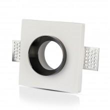 V-TAC VT-866 GU10-GU5.3 housing square recessed white gypsum with chrome metal finish for Spotlights - sku 3149