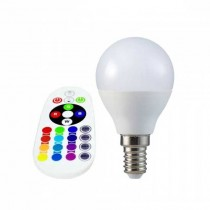 V-TAC SMART VT-2234 lampadina LED smd 3.5W E14 P45 RGB+W bianco freddo 6400K con telecomando - sku 2777