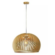 V-TAC VT-4280 Wooden pendant light modern with chrome decorative lampshade E27 Ф440mm - SKU 40541