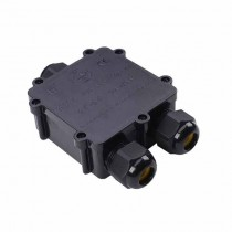 V-TAC VT-870 3PIN junction box black pvc waterproof IP68 with terminals block  - SKU 5980