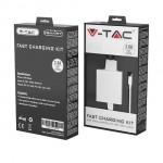 V-TAC VT-5382 caricabatteria USB ricarica rapida 18W 3A e cavo USB Type-C colore bianco - sku 8643
