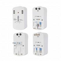 V-TAC Adattatore singolo universale da viaggio con 2 prese USB colore bianco spina standard US,UK,EU - sku 8704