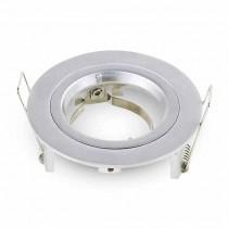 V-TAC VT-774 Portafaretto incasso alluminio rotondo grigio metallico TWIST TO OPEN per lampade GU10-GU5.3 - SKU 3644